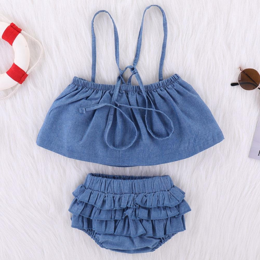chinatera Baby Girls Summer Clothes Two Pieces Halter Vest Ruffle But Shorts