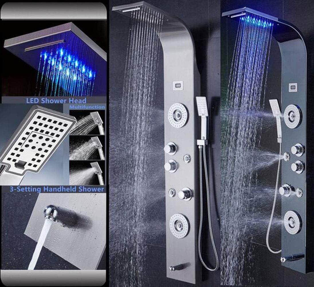 HUASHASHA Sistema de Torre de mampara de Ducha de Acero Inoxidable LED - Ducha de Cascada de Lluvia de LED Boquilla de Ducha de Mano Boquilla de Cilindro: Amazon.es: Hogar
