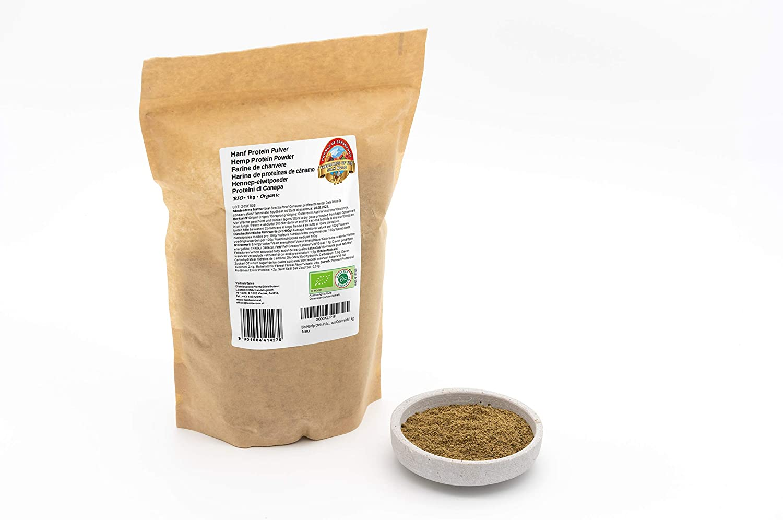 Polvo de proteína de cáñamo orgánico – 1 kg – 42% de proteína vegetal – desgrasado, bajo en carbohidratos y sin gluten – vegano – de Austria – crudos