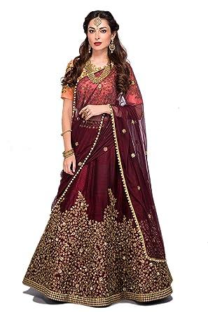 45a958a016 Fashila Women's Embroidered Taffeta Satin Lehenga Choli with Blouse Piece ( Maroon,Free Size): Amazon.in: Clothing & Accessories