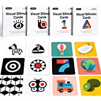 beiens High Contrast Baby Flashcard, 80 PCs 160 Page Black White Colorful Visual Stimulation Learning Activity Card for…