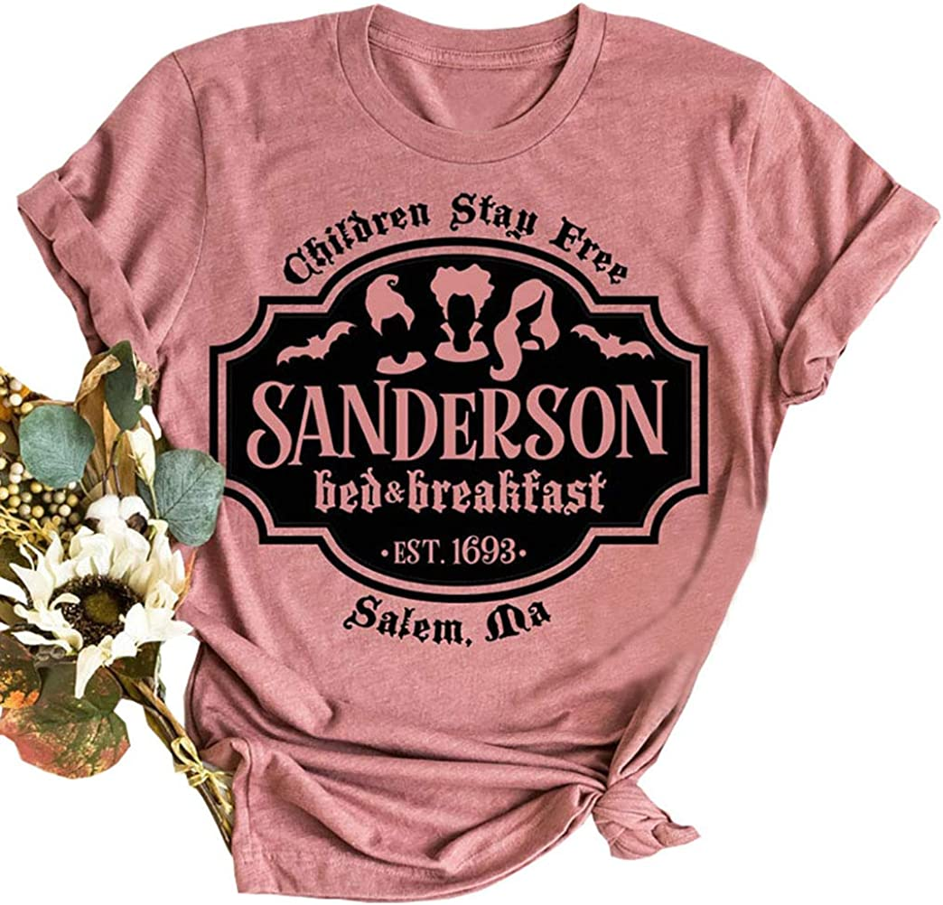 VKEGNIO Sanderson Sisters Halloween Shirt Women Sanderson Bed and Breakfast Tee Hocus Pocus Funny Tshirt Fall Casual Shirts