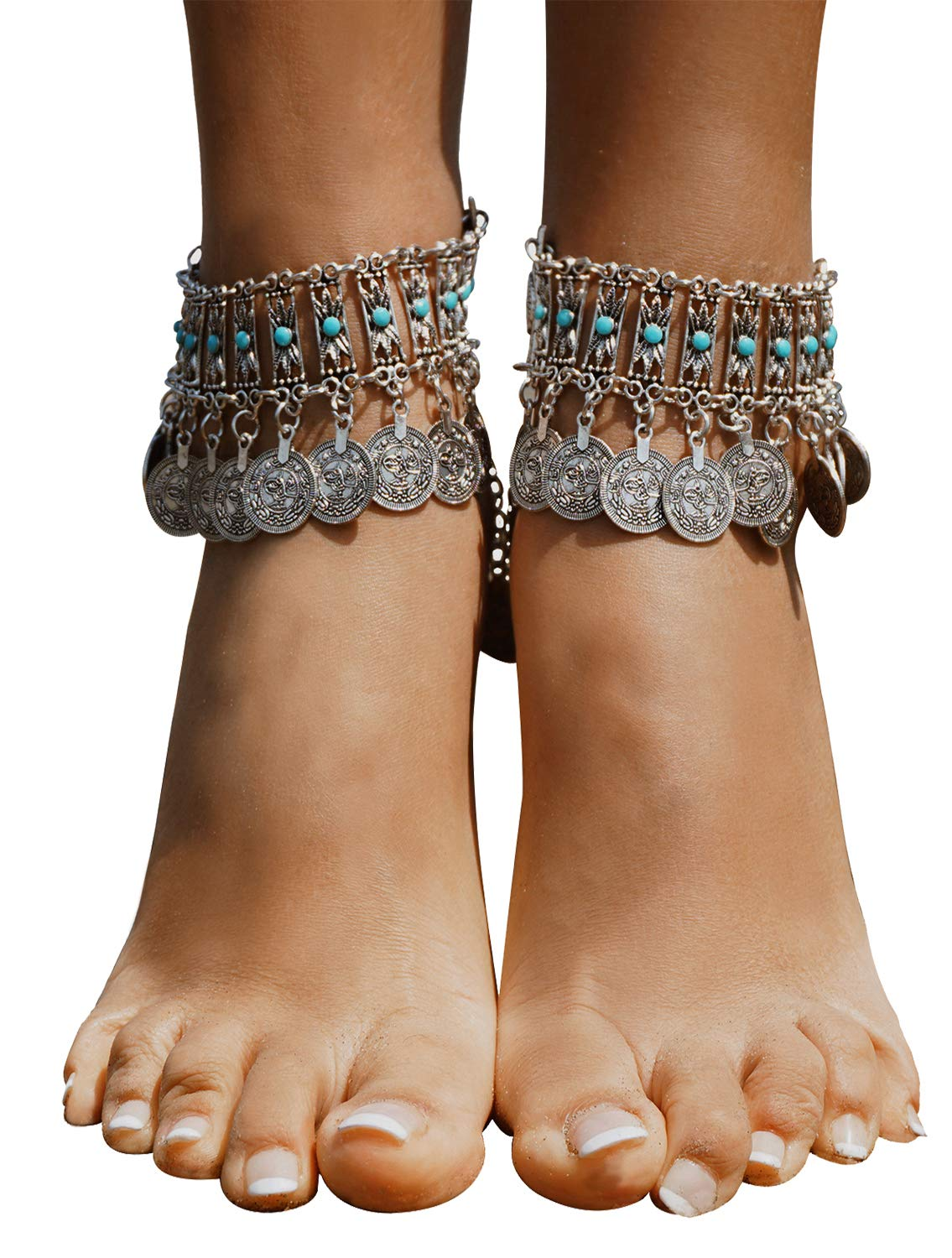 Bienvenu Vintage Style Coin Tassels Beach Ankle Chain Barefoot Sandal Beach Foot Jewelry,Silver_Style 5