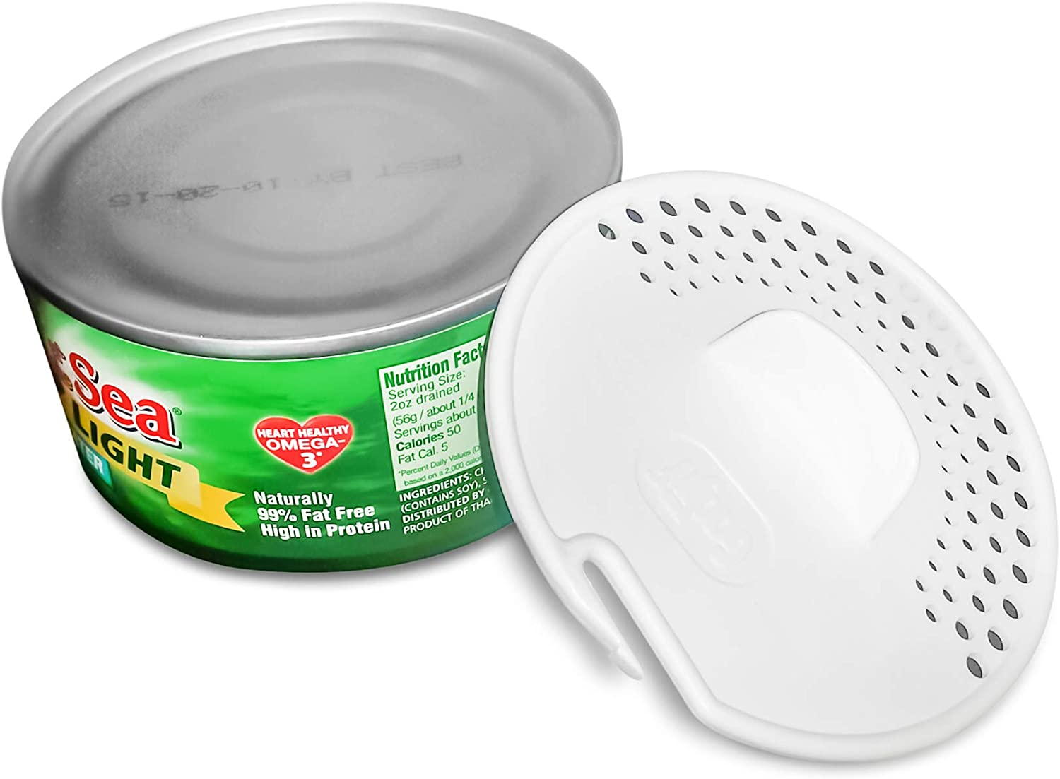 Gadjit Tuna Can Strainer Kitchen Utensil Easily Strains Liquids Out of Canned Fruits and Vegetables, Press Device into Open Can, Pour out Excess Fluid, Dishwasher Safe for Easy Cleaning (White)