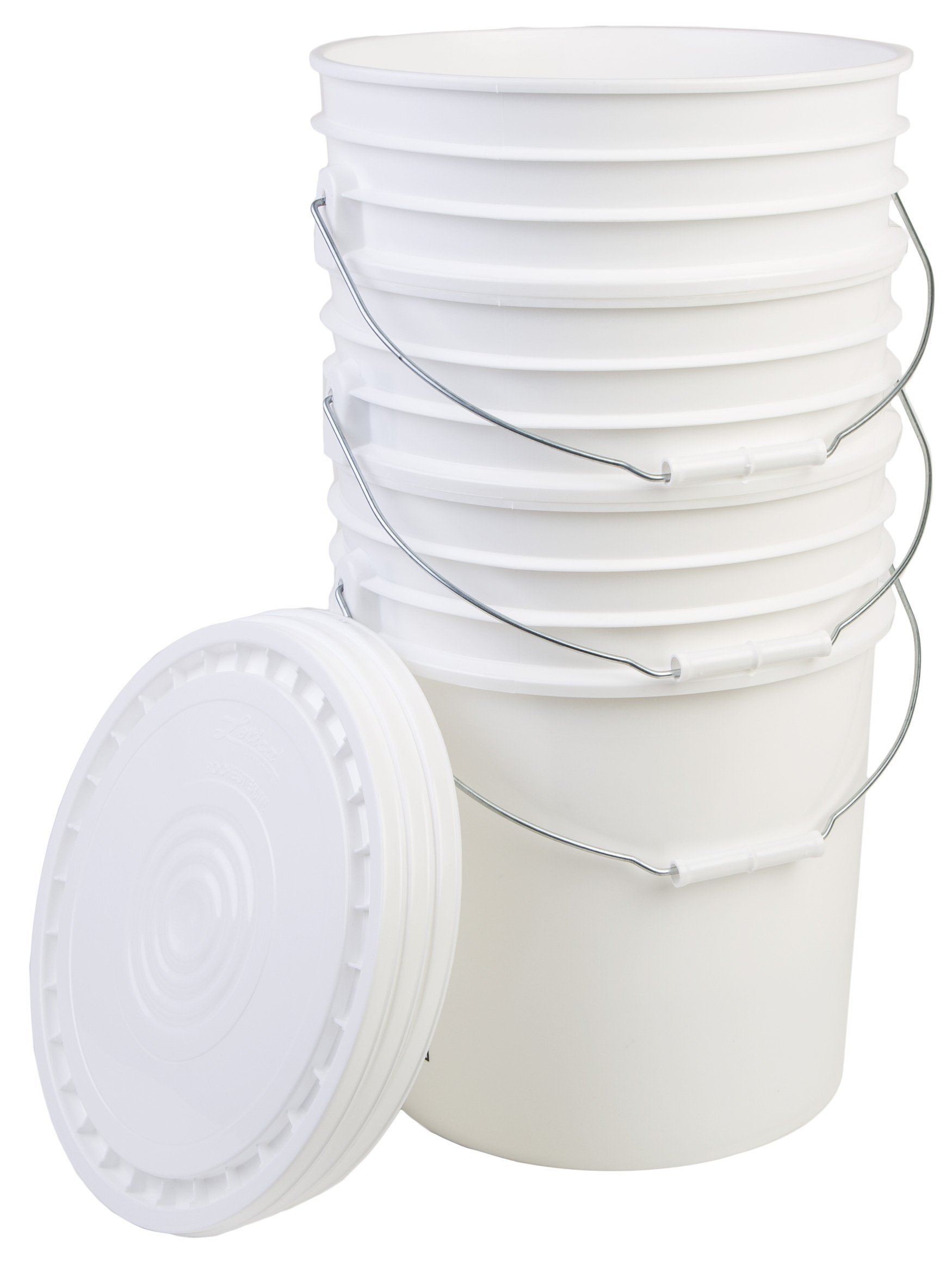 Hudson Exchange Premium 5 Gallon Bucket with Lid, HDPE, White, 3 Pack