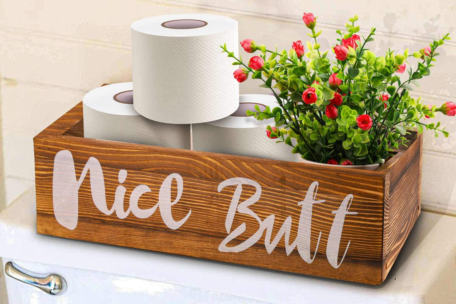 Supsiah Nice Butt Bathroom Decor Box Toilet Paper Holder Storage Funny Gift Farmhouse Wooden Rustic Decor For Home Kitchen and Bedrooms Brown