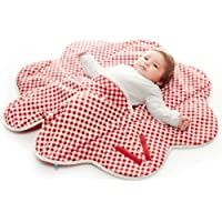 Wallaboo Baby Blanket Fleur, Supersoft 100% Cotton, Newborn, For Pram, Moses Basket or Crib and Travel, Receiving Blanket in Flower shape. Size 34 x 34inch, Colour: Red - Vichy