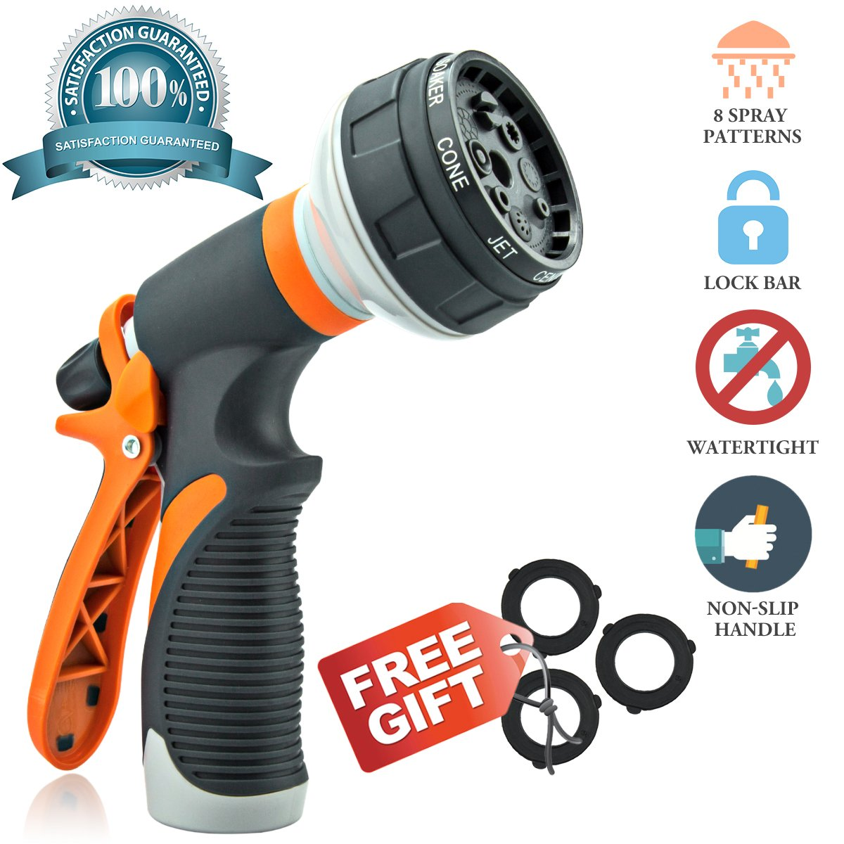 Hose Nozzle Garden Hose Nozzle Hose Spray Nozzle Leak Free High Pressure Heavy Duty 8 Pattern For Watering Plant Washing Cars Pets Shower