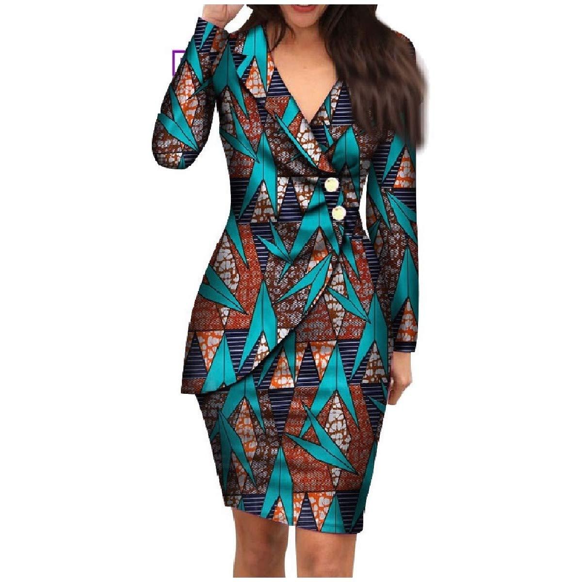 Lake bluee HEFASDM Women's Dashiki Elegent Blazer African Printed Premium Back Cotton Dress