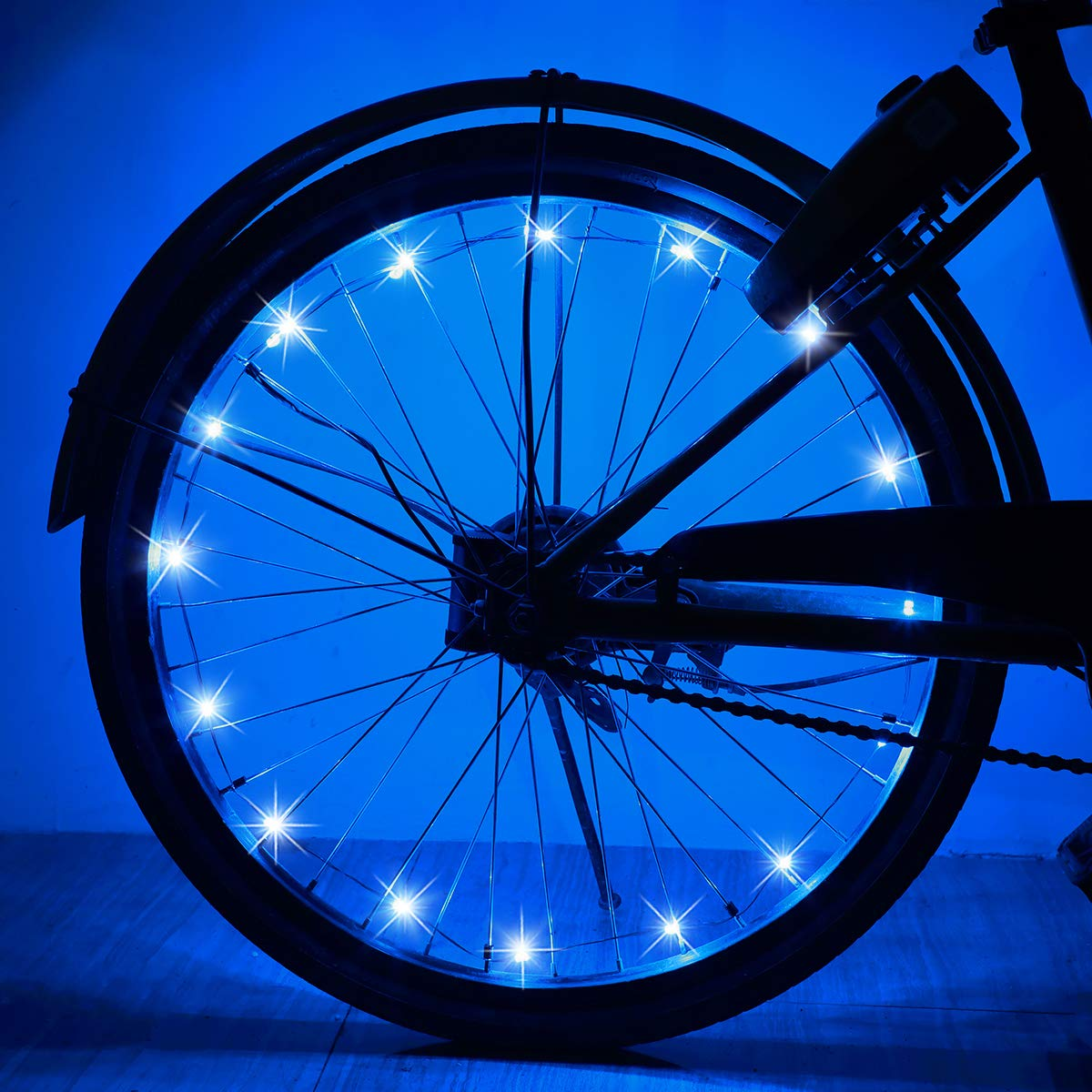 AOYOO Bicycle Wheel Light Night Light (1 Tire Pack) Waterproof 7 Color Outdoor Lighting Bicycle Tire Accessories You Can Choose Your Favorite Color 18 Flash Pattern Personality Selection, Safety Spoke by AOYOO (Image #2)