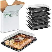 Caterline Online - Juego de 10 bandejas rectangulares para Comida con Tapa Transparente y Base de Bandeja, Color Negro…