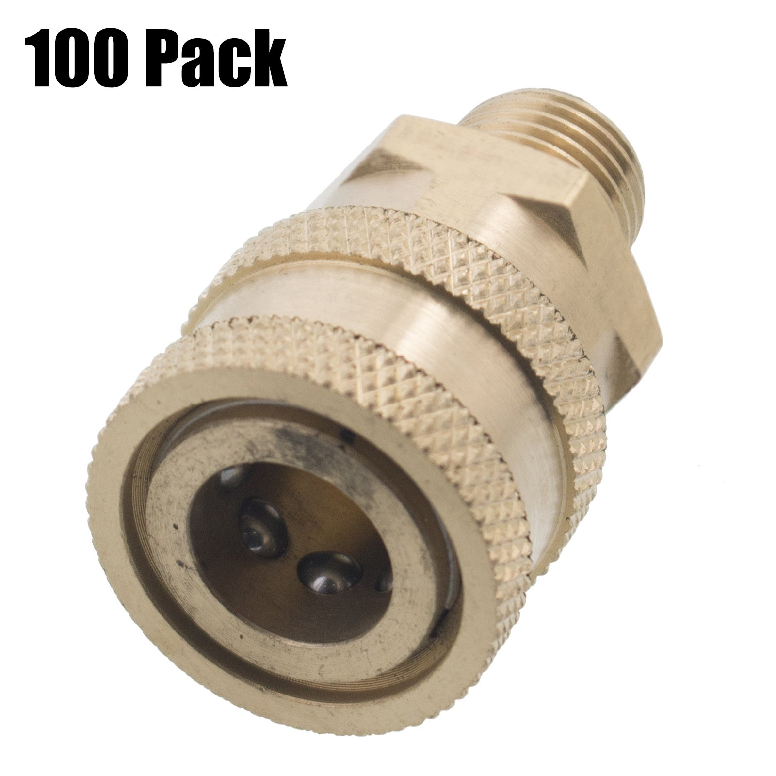 Erie Tools 100 1/4in. MPT Male Brass Socket Quick Connect Coupler 4000 PSI 10 GPM for Pressure Washer Nozzle Gun Hose Wand