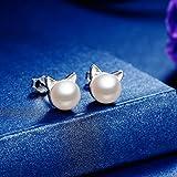 ANBALA Cute 925 Sterling Silver Cat Ear Earrings