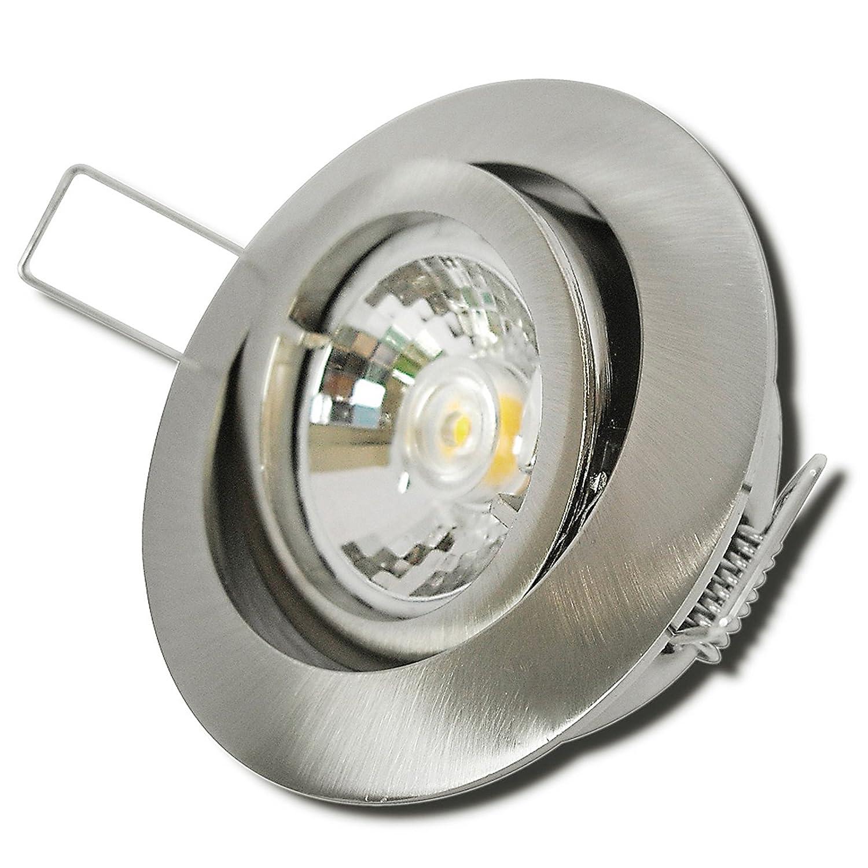 7 Stück MCOB Modul Einbaustrahler Laura 230 Volt 5 Watt Schwenkbar Edelstahl geb.   Warmweiß