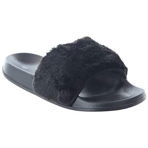 e4dffcaf5832 LADIES WOMENS COMFY RUBBER SLIDER FLAT SANDALS FAUX FUR TRIM SLIPPERS SHOES  SIZE  Black UK