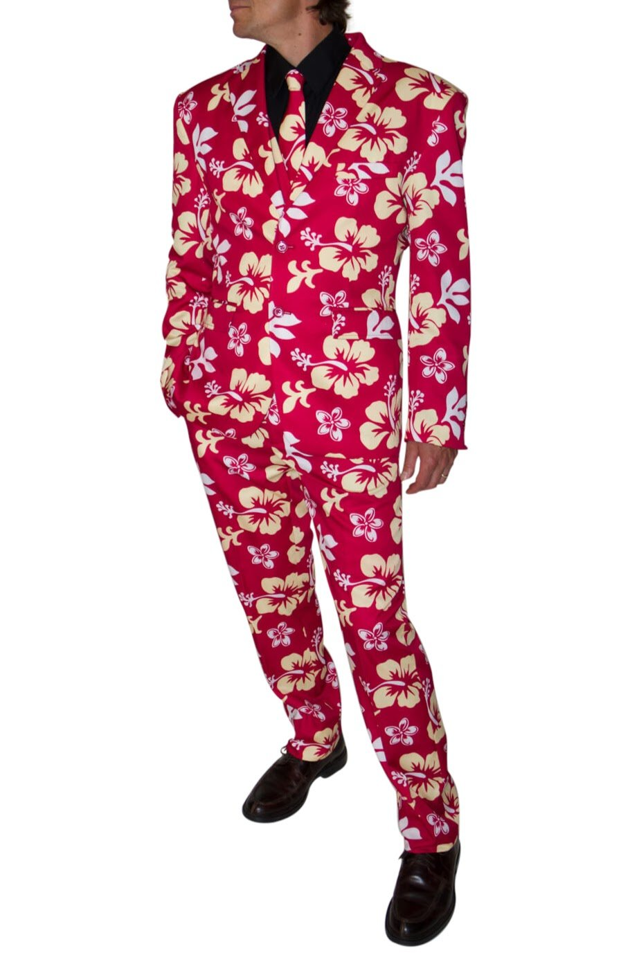 Stir Clothing Co. Big Kahuna Mens Hawaiian Floral Print Party Suit With Adjustable Hem Tape (42, Red Hibiscus)