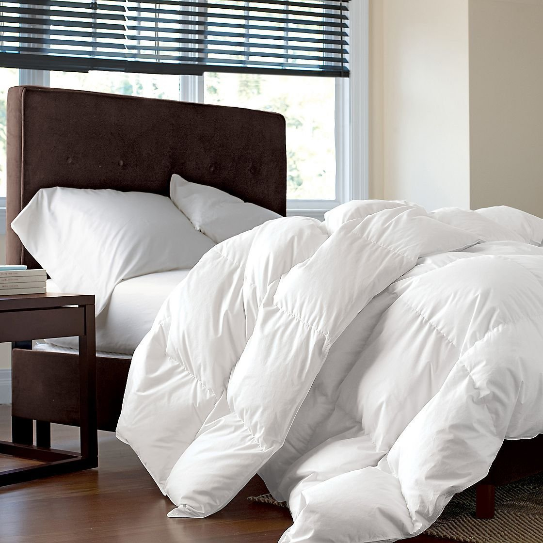 1200 Thread Count Baffle Box Medium Weight GOOSE DOWN Comforter, All Year, White, King