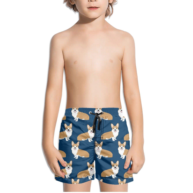 Corgi Cartoon Dog Background Pattern Kids Boy's Fast Drying Beach Swim Trunks Pants