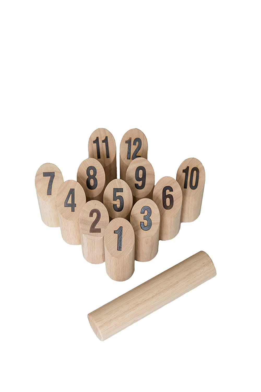 BolaBallソリッド木製番号Kubbセット21ピース、耐久性携帯ケース