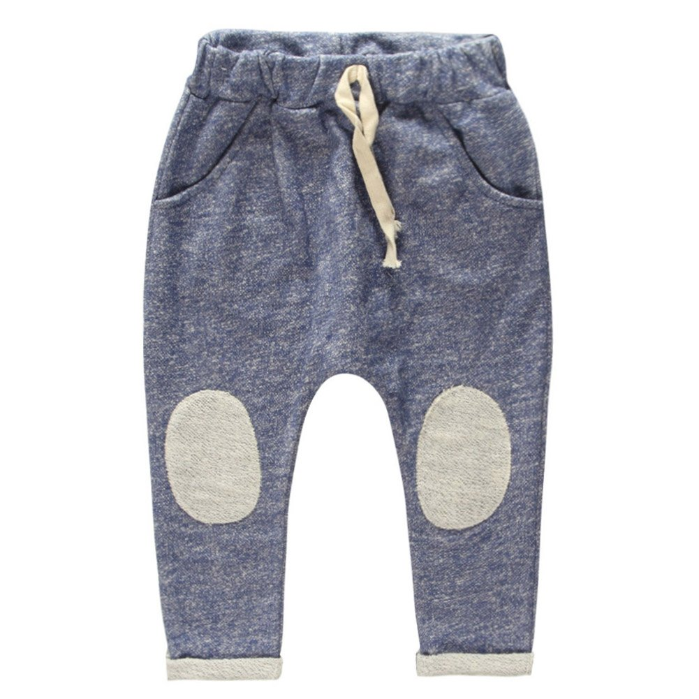 Coodebear Boys' Terry Cotton Patch Loose Collapse Pants Blue Size 4