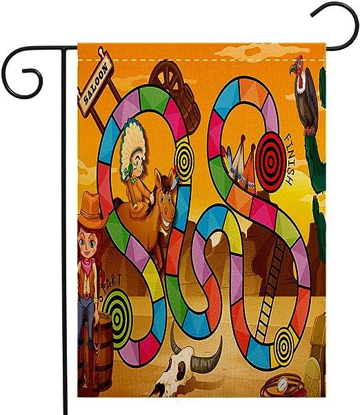 Bandera de jardín de doble cara personalizada, juego de mesa Wild West Concept Paisaje Paisaje Vaquera
