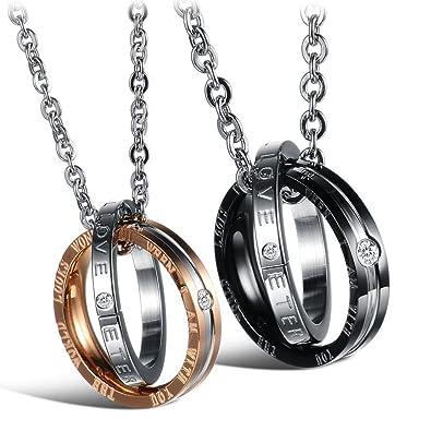 Schmuck gravur  Jewow Schmuck Edelstahl Verliebte Paar Halskette Doppelt Ring ...