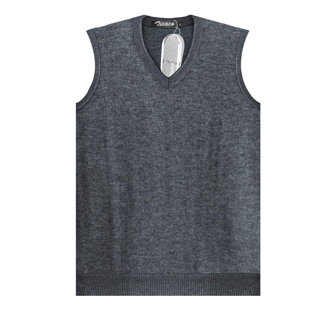 f2c4a0fdff040 Zicac Pull sans Manches en Maille Col V pour Homme  Amazon.fr  Vêtements et  accessoires