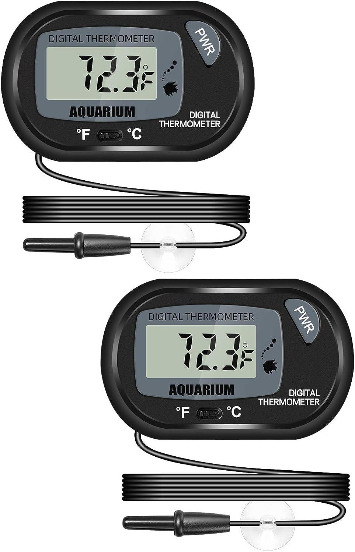 Thlevel 2 Piezas Termómetro Digital LCD con Exterior Sonda y Ventosa para Acuario -50/70 °C