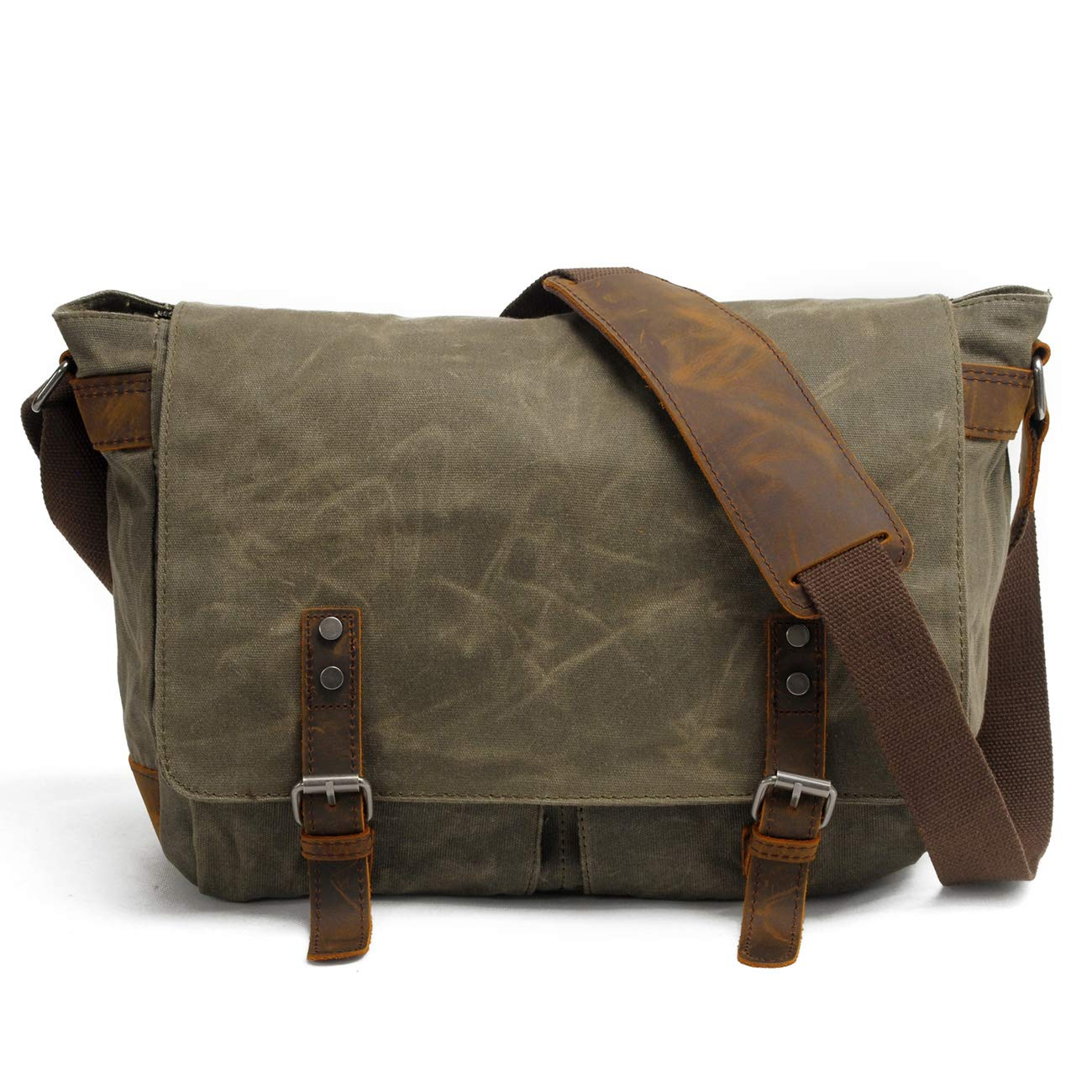 GEREMEN Mens Messenger Bag Genuine Leather Canvas Messenger Bag Waterproof Laptop Messenger Bag for 15 inch Laptop Vintage Satchel Briefcase Cross Body Shoulder Bag for Everyday Use 16928 ArmyGreen