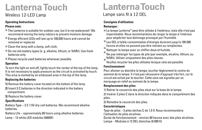 LIGHT IT LED Wireless Lanterna Touch Light and Table Lamp White