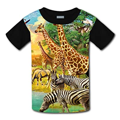 Mmm fight African Animals Zebra Giraffe Light Weight Short Sleeve 2017 The Latest Version For Kidsfree Postage