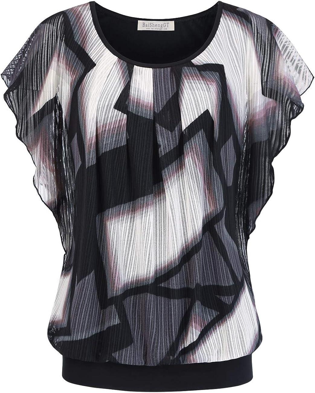 BAISHENGGT Women's Printed Flouncing Flared Short Sleeve Mesh Blouse Top