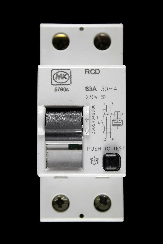 MK ELECTRIC LN 5760s 63 AMP 30mA DOUBLE POLE RCD CIRCUIT BREAKER