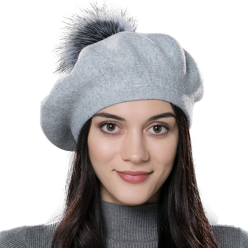 Women Winter French Beret Hats Real Fur Pom Pom Wool Warm Berets Soft Lightweight Casual Hat