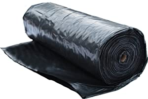 Plastic Sheeting Roll 6 MIL (10x100) Black for Painting, Plastic Tarp, Plastic Mulch, Weed Barrier, Concrete Moisture, Vapor Barrier, Construction Film, Lumber Tarp, Ground Cover