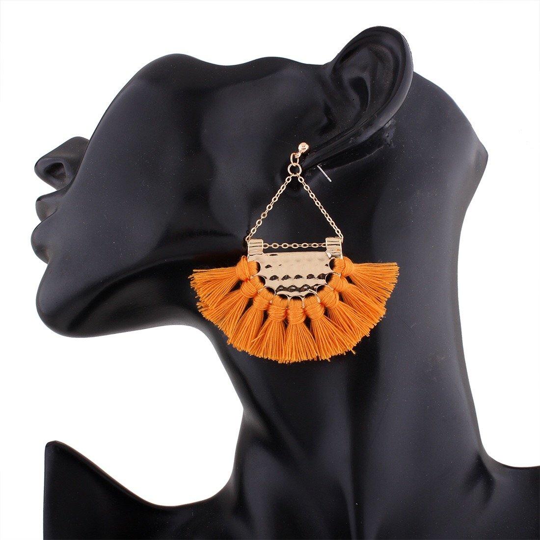 Semicircle Fan Shape Tassel Earrings, Hoop Dangle Ear Drop Soriee for Women, AILUOR Bohemia Ethnic Tassels Earrings Fan Shape Tribal Fringe Boho Eardrop (Orange)