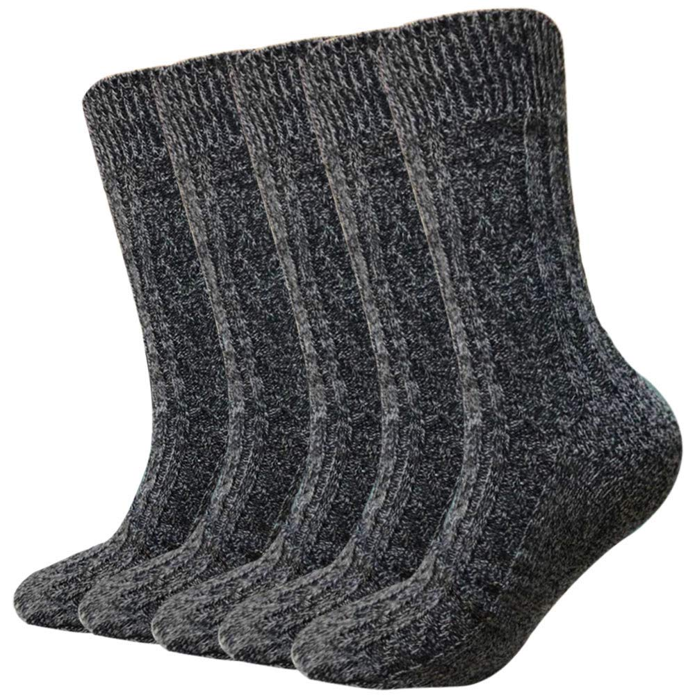 Wool Socks For Women Men 5 Pack-Winter Soft Thick Warm Hiker Boot Crew Socks