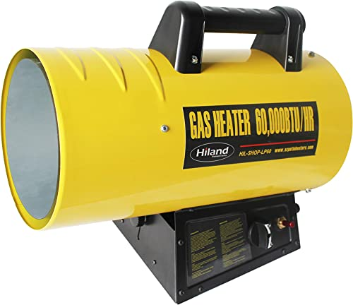 Hiland HIL-SHOP-LP60 HIL-SHOP-LP40 Propane 60,000 BTU Forced Air Warehouse Shop Heater w Stand, Yellow