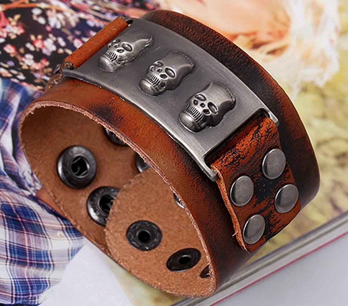 YABINI Men Punk Alloy Skull Leather Wide Bracelet