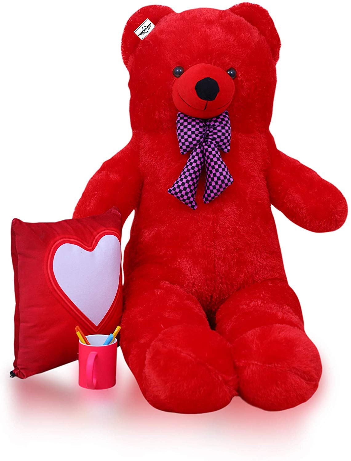 Red Teddy Bear 5 Feet, Buy Atif Teddy Bear With Neck Bow Red 5 Feet 152 Cm Online At Low Prices In India Amazon In