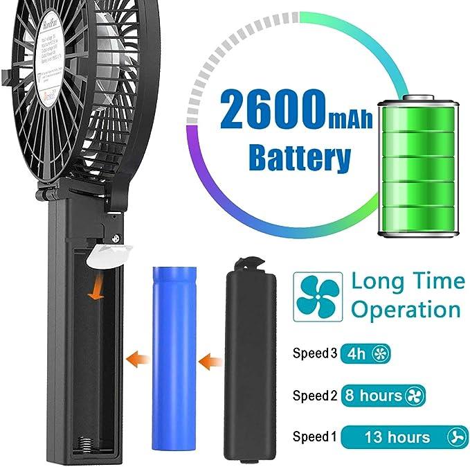 Mini Ventilatore USB Ricaricabile Ventola a Batteria 2600mAh Blu Victoper Mini Ventilatore Portatile Ventilatore da Tavolo a 3 velocit/à Manico Pieghevole per la Casa Ufficio//Esterno//Campeggio