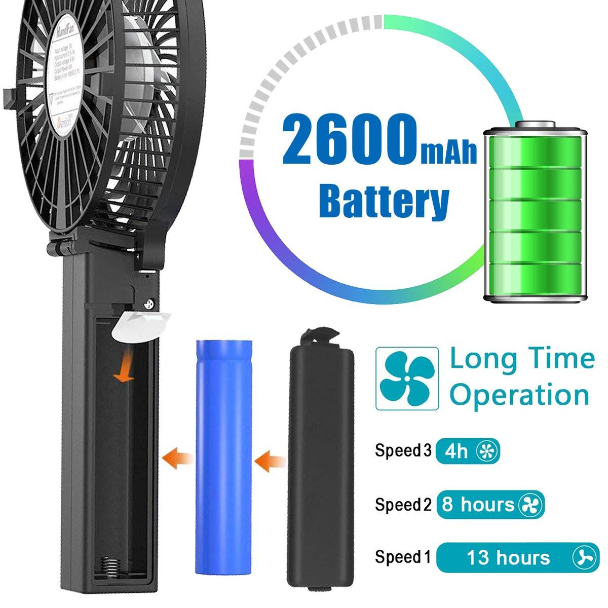 Victoper Mini Ventilatore Portatile Blu Ventilatore da Tavolo a 3 velocit/à Manico Pieghevole per la Casa Ufficio//Esterno//Campeggio Mini Ventilatore USB Ricaricabile Ventola a Batteria 2600mAh