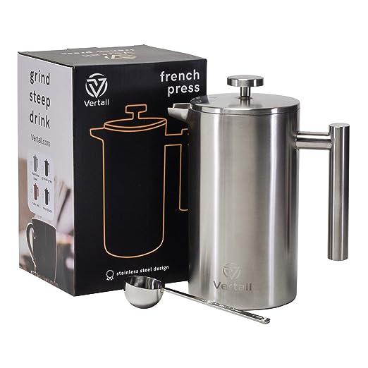Verhigh cafetera de prensa francesa grande de 34 onzas, doble ...