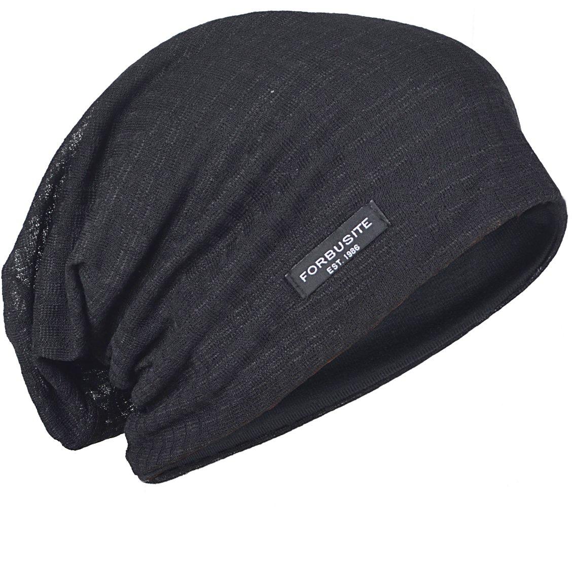 FORBUSITE B018 Distressed Stripe Slouch Beanie Skull Cap For Summer (Black)