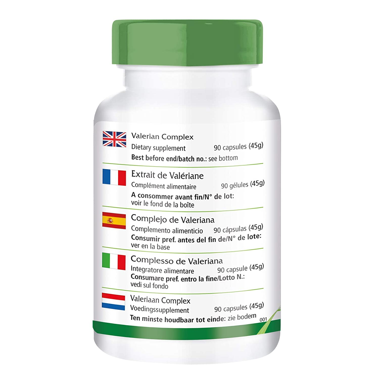 Valeriana Complex - VEGANO - Altamente dosificado - 90 cápsulas - con lúpulo y bálsamo de limón - ¡Calidad Alemana garantizada!: Amazon.es: Salud y cuidado ...