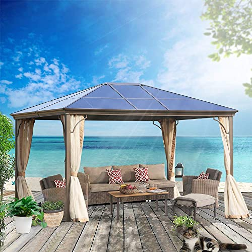 MorNon Outdoor Steel Frame Gazebo with Mesh Screen Netting Curtains Heavy Duty Waterproof for Deck, gazebos for patios 12×10 ft Patio and Backyard