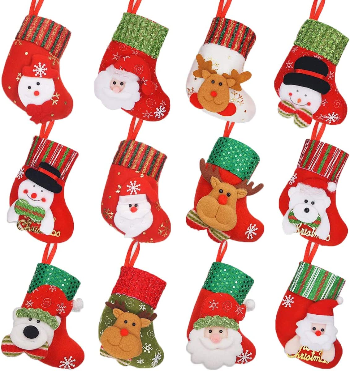 Limbridge Christmas Mini Stockings 12 Pack 6 25 Inches Small 3d Kids Mixed Set Felt Xmas Tree Santa Claus Snowman Reindeer Gift Card Silverware Holders Mini Personalized Holiday Treat Bags Home