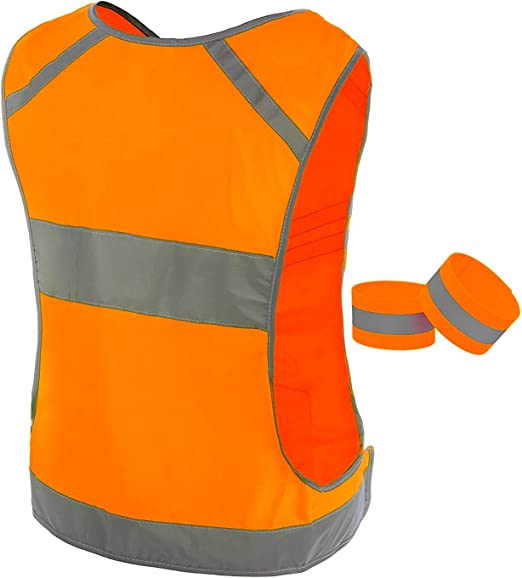 Ultralight /& Comfy Large Pocket with Adjustable Waist Walking Included 2 Reflective Bands /& Bag Be Visible Stay Safe Safety Vest in 6 Sizes for Running Cycling Reflective Vest Running Gear