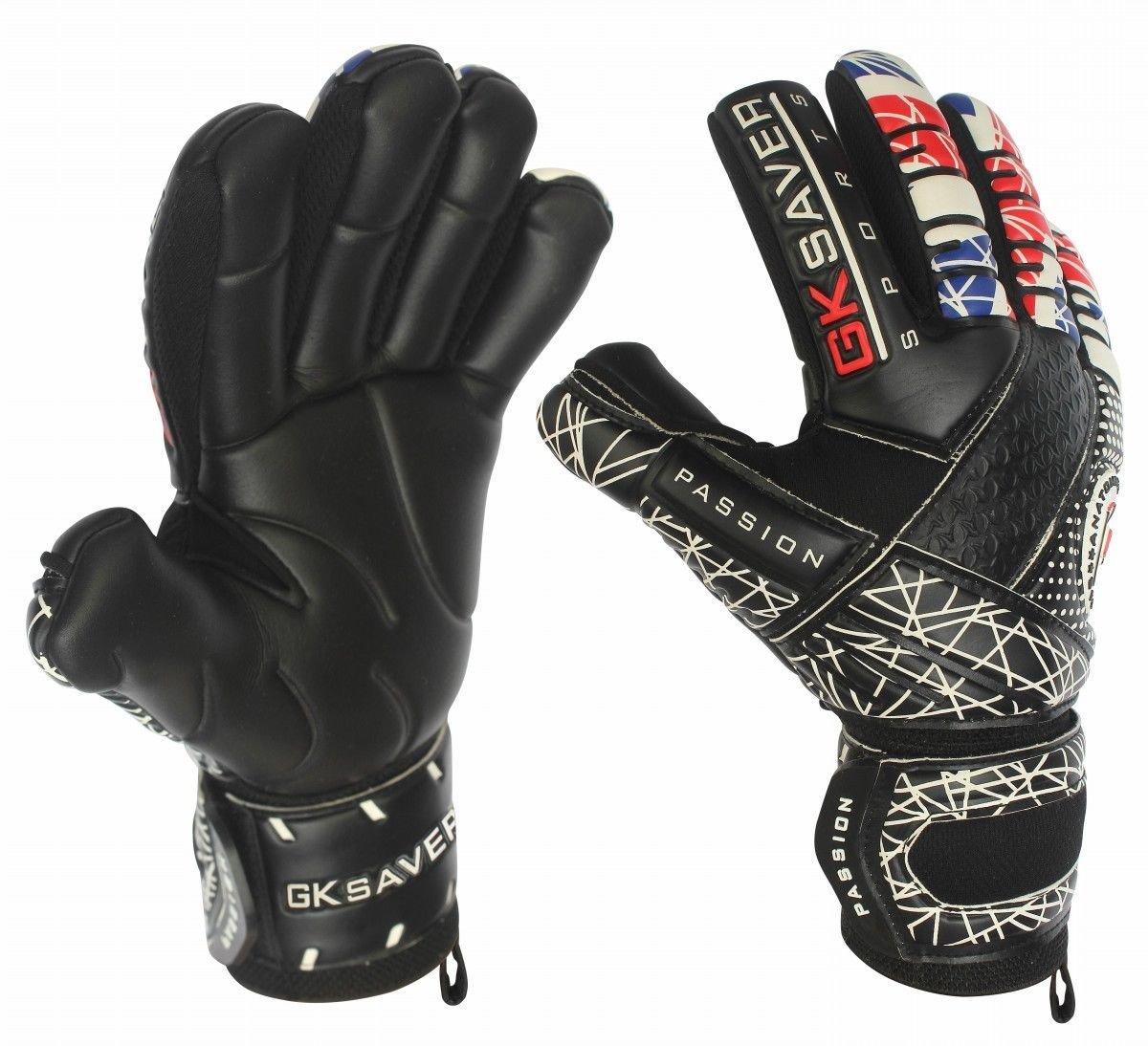 Fußball-Torwart-Handschuhe von GK Saver, Modell Passion Unity Negative Cut, UK-Flagge, Profi-Handschuh, personalisierbar