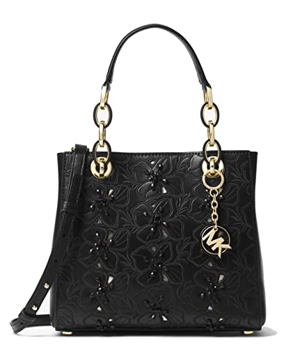 9314d54a7af7 Amazon.com: MICHAEL Michael Kors Cynthia Small Floral Embroidered Leather  Satchel Bag, Black: Shoes